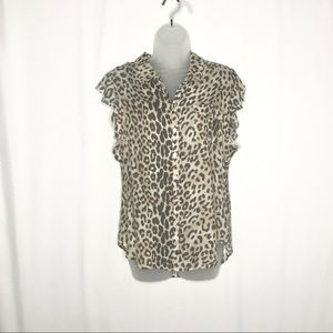 Chaser leopard print flutter sleeves button down